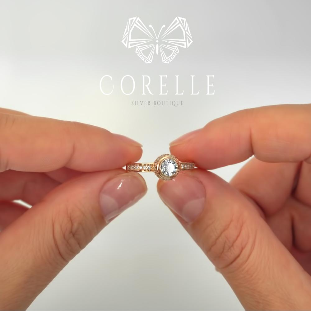Inel de logodna argint placat cu aur roz, cod TRSR085, Corelle