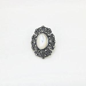 Brosa argint Vintage Sidef cu marcasite - ICA0006