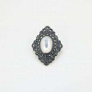 Brosa argint Vintage Sidef cu marcasite - ICA0007