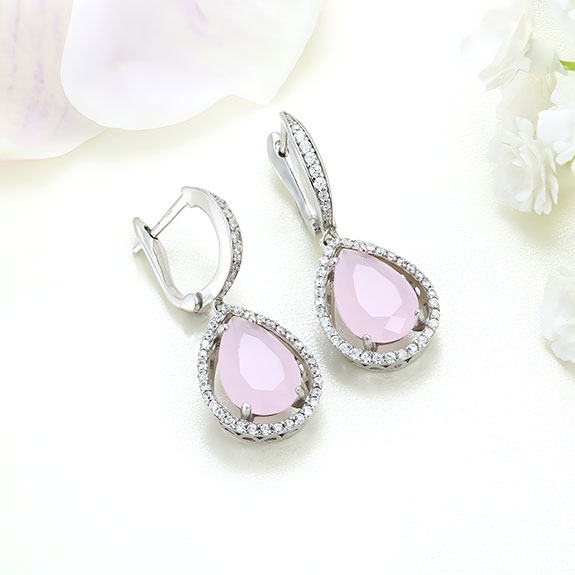 Cercei argint cu piatra roz - ICE0001