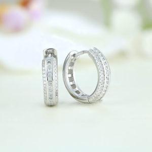 Cercei argint rotunzi cu pietre - ICE0017