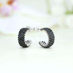 Cercei argint cu pietre negre - ICE0050