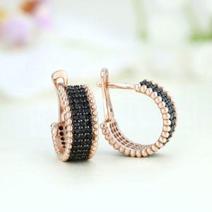 Cercei argint roz cu pietre negre - ICE0051