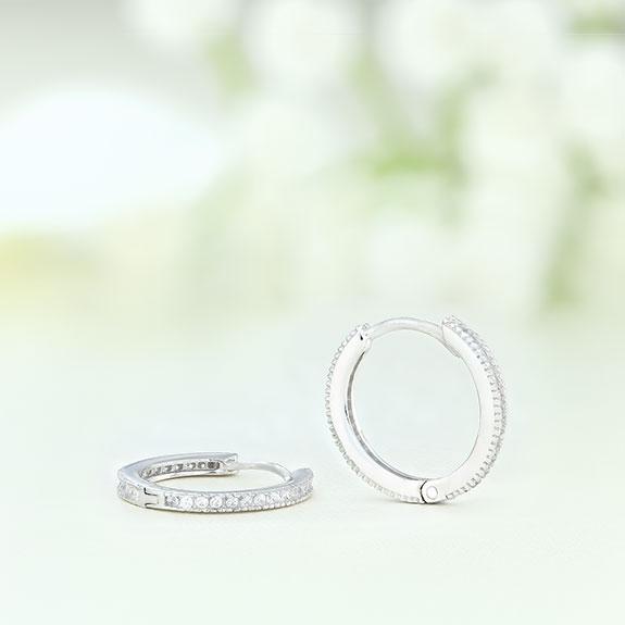 Cercei argint mici rotunzi cu pietre - ICE0065