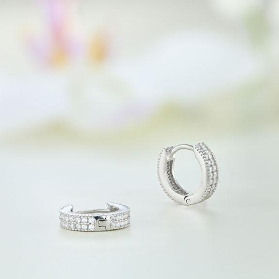Cercei argint mici rotunzi cu pietre - ICE0069