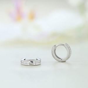 Cercei argint rotunzi mici cu pietre - ICE0069