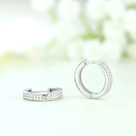 Cercei argint rotunzi mici cu pietre - ICE0072