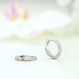 Cercei argint mici rotunzi cu pietre - ICE0073