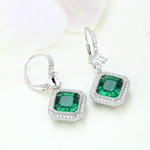 Cercei argint cu piatra Verde - ICE0083
