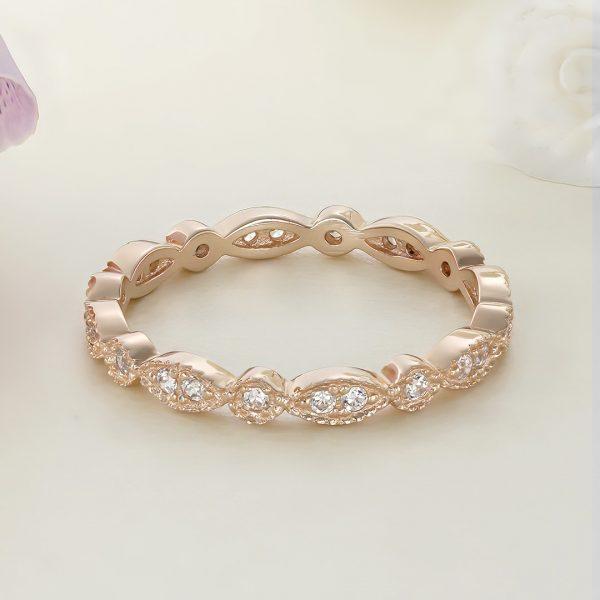 Inel argint Subtire Eternity roz cu pietre Fancy - ICR0001