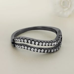 Inel argint negru cu pietre - ICR0016