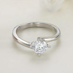 Inel logodna argint cu piatra zirconiu Solitar - ICR0023