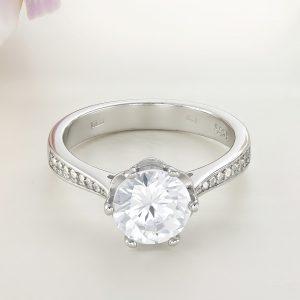 Inel logodna argint cu pietre Solitar cu pietre laterale - ICR0034
