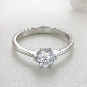 Inel logodna argint cu piatra zirconiu Solitar - ICR0035