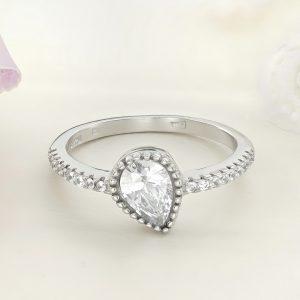 Inel logodna argint cu pietre Anturaj-Halo Lacrima - ICR0038