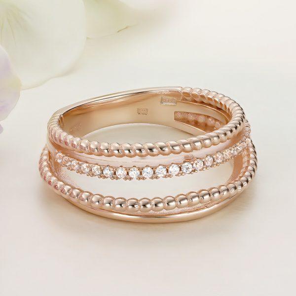 Inel argint Lat roz cu pietre - ICR0047