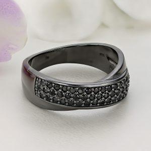 Inel argint Lat negru cu pietre negre Semi Eternity - ICR0050