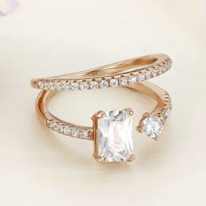 Inel argint roz cu pietre - ICR0051