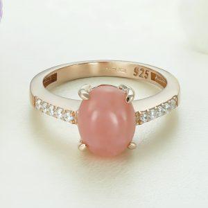 Inel argint roz cu piatra Roz Calcedonia cu pietre laterale - ICR0065