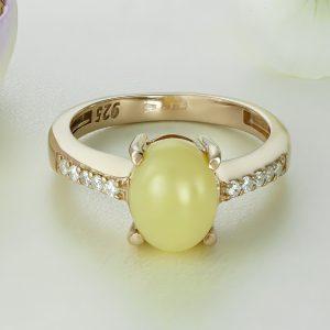 Inel argint roz cu piatra Galben Calcedonia cu pietre laterale - ICR0068
