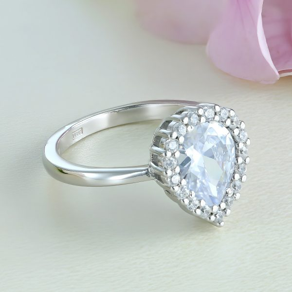 Inel logodna argint cu pietre Anturaj-Halo Lacrima - ICR0082