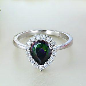 Inel argint cu pietre Anturaj-Halo | Lacrima Multicolora - ICR0083