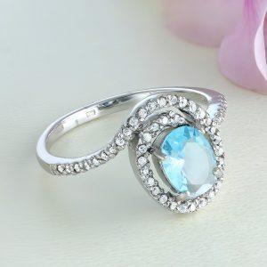 Inel argint cu piatra mare Bleu si pietre laterale - ICR0098
