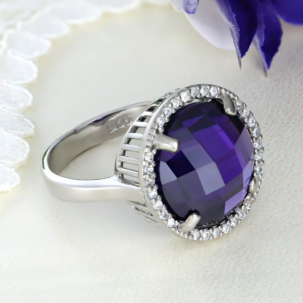 Inel argint cu pietre Anturaj-Halo   Mov - ICR0099