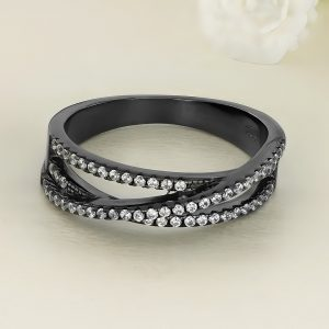 Inel argint negru cu pietre Semi Eternity - ICR0108