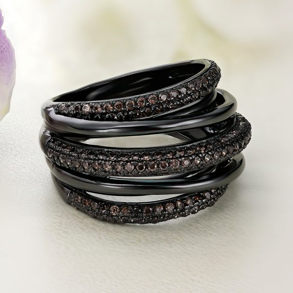 Inel argint Lat negru cu pietre maro - ICR0113