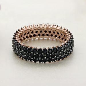 Inel argint Lat Eternity roz cu pietre negre - ICR0126