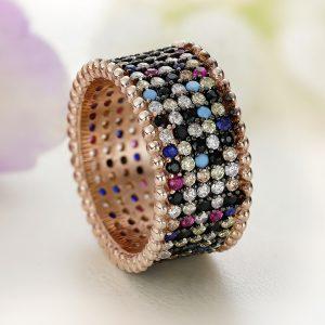 Inel argint Lat Eternity roz cu pietre Multicolore - ICR0127
