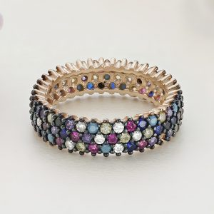 Inel argint Eternity roz cu pietre colorate - ICR0130