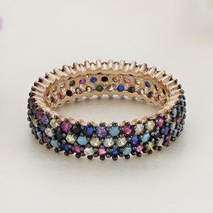 Inel argint Eternity roz cu pietre colorate - ICR0131
