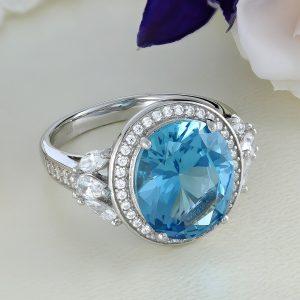 Inel argint cu pietre Anturaj-Halo Albastru - ICR0142