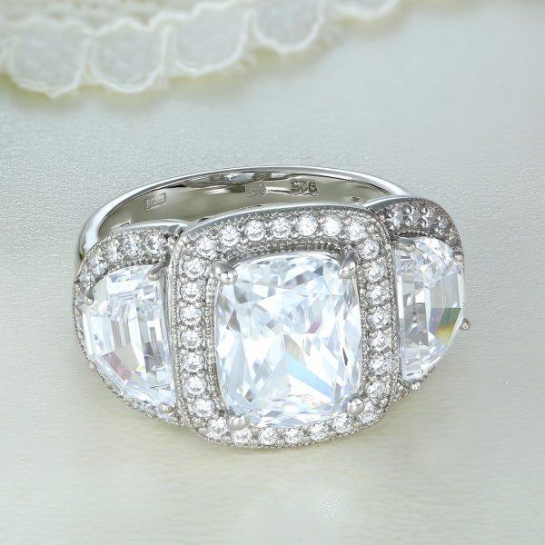 Inel argint cu pietre Anturaj-Halo - ICR0143