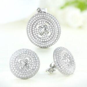 Set bijuterii argint cu pietre Nasturi - ICS0038