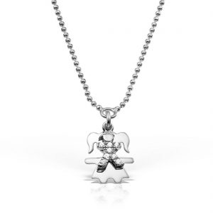 Colier argint cu pietre 50 cm Fetita - MCN0010