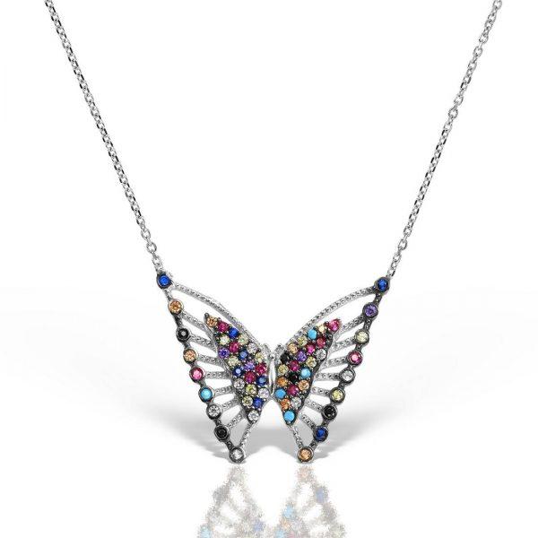 Colier argint cu pietre 44 cm colorate Fluture - MCN0032