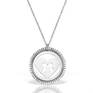 Colier argint cu pietre 42 cm Indragostiti Heart & Kiss - MCN0040
