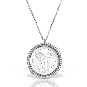 lier argint cu pietre 42 cm Indragostiti | Heart - MCN0041