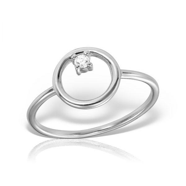 Inel argint subtire Cerc cu piatra - MCR0102