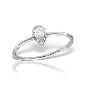 Inel argint subtire cu piatra Lacrima - MCR0103