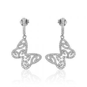 Cercei argint Surub Drop Earrings Zirconii TRSE049, Bijuterii - Corelle
