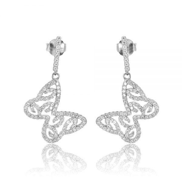 Cercei argint Surub Drop Earrings Zirconii TRSE050, Bijuterii - Corelle
