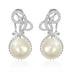 Cercei argint Omega Clip Drop Earrings Perla TRSE051, Bijuterii - Corelle