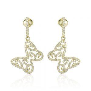 Cercei argint Surub Drop Earrings Zirconii TRSE054, Bijuterii - Corelle