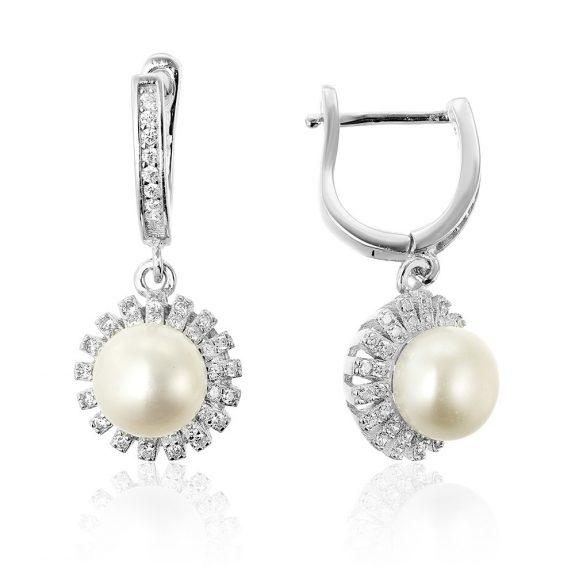 Cercei argint Latch Back Drop Earrings Zirconii si Perla TRSE138, Bijuterii - Corelle