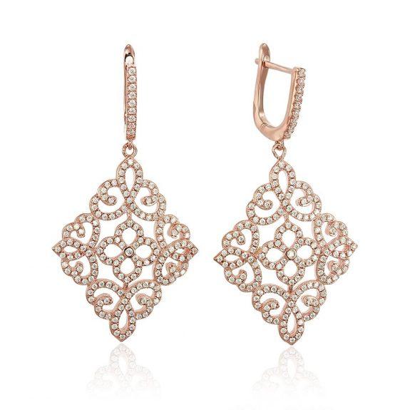 Cercei argint Latch Back Drop Earrings Zirconii TRSE152, Bijuterii - Corelle
