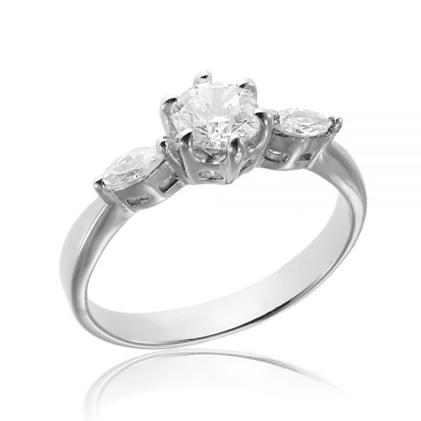 Inel argint Briliant&Marquise cu 3 cristale TRSR012, Corelle